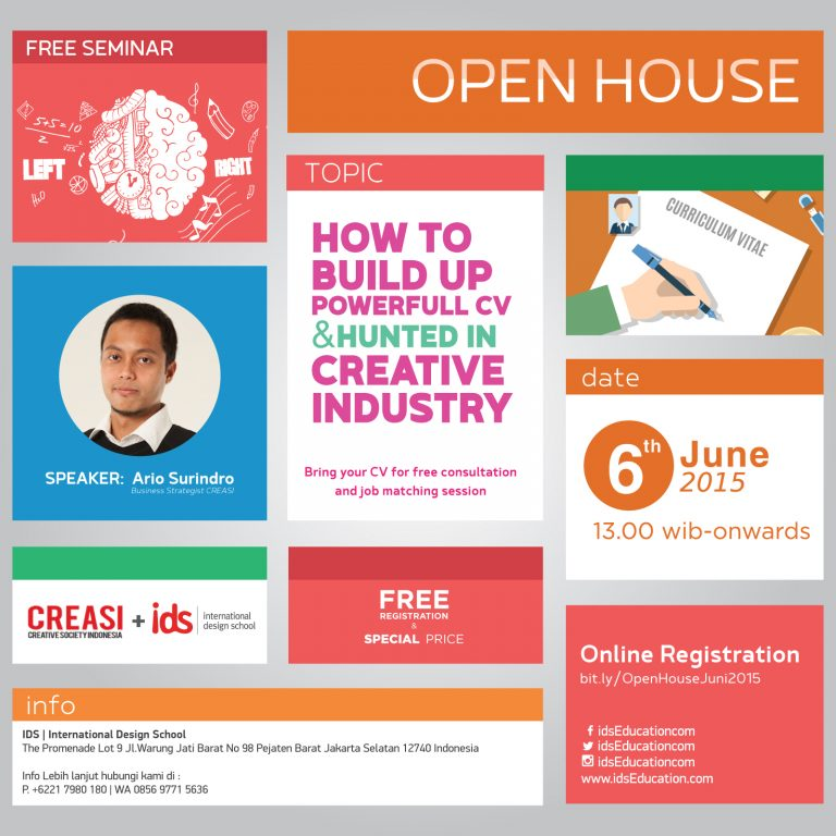 "Open House IDS: Seminar & Info Session Day ""How to Build up Powerful CV & Hunted in Creative Industry"""